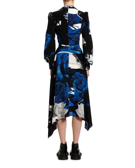 Alexander McQueen Rose Print Crepe de Chine Wrapped Dress