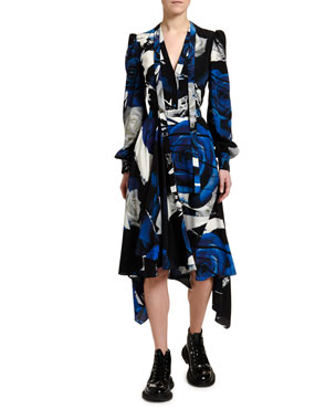 09887be650ff Alexander McQueen Rose Print Crepe de Chine Wrapped Dress