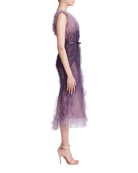 Marchesa Ombre Tulle V-Neck Cocktail Dress