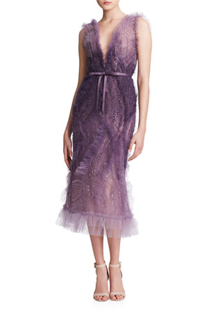 Marchesa Ombre Tulle V-Neck Cocktail Dress