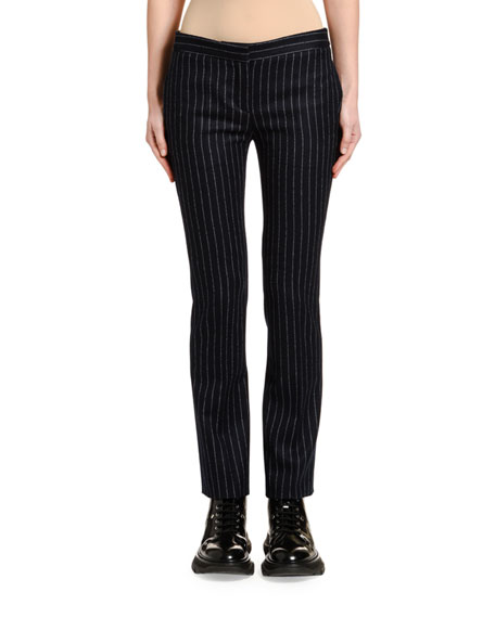 Alexander McQueen Pinstriped Flannel Boy-Cut Cigarette Pants