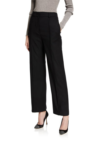 Marchesa Wool Wide-Leg Cropped Pants