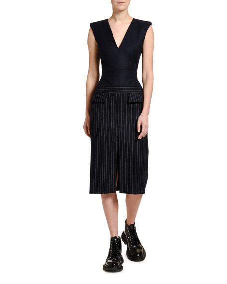 Alexander McQueen Pinstriped Flannel Skirt V-Neck Dress