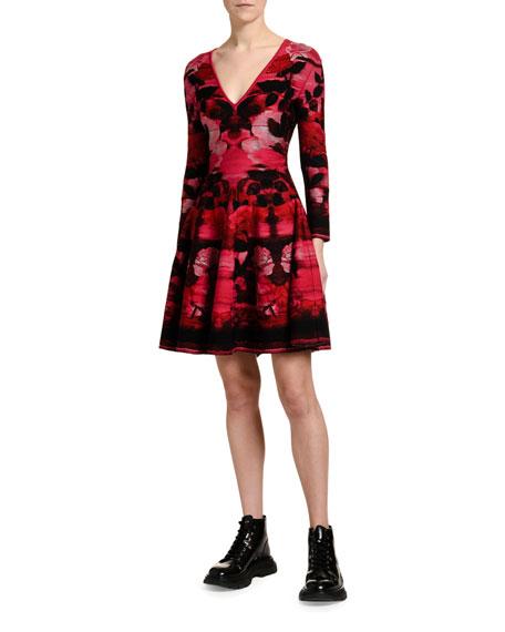 Alexander McQueen Blurred-Rose Jacquard A-Line Cocktail Dress