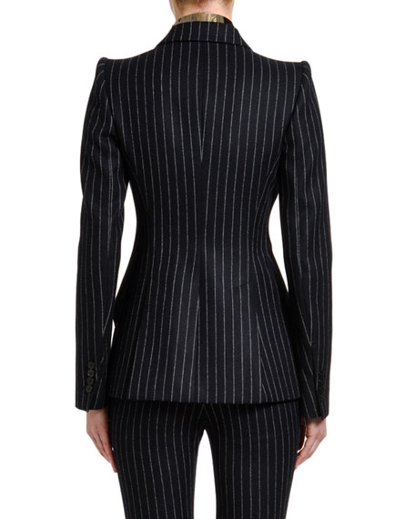 Alexander McQueen Pinstriped Flannel One-Button Jacket