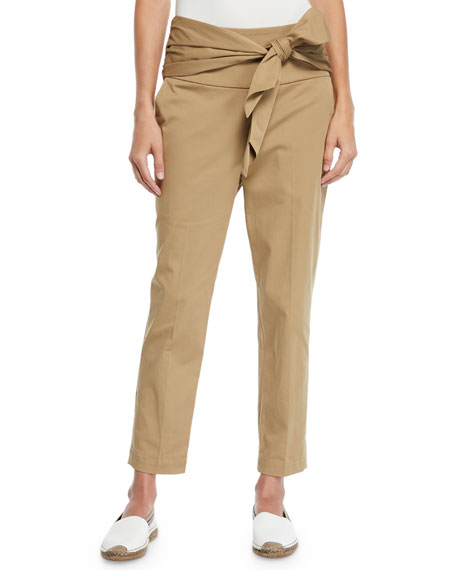 Brunello Cucinelli Gabardine Bow-Waist Crop Pants