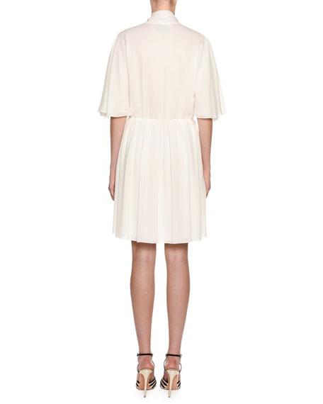 Giambattista Valli 1/2-Flutter Sleeve Tie-Neck Dress