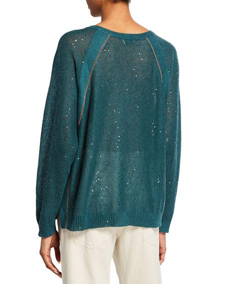 Brunello Cucinelli Sequined Linen-Silk Raglan-Sleeve Sweater