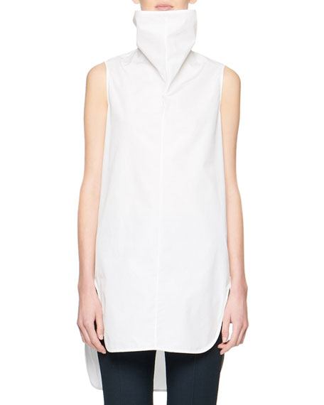 THE ROW Almora Sleeveless Poplin Turtleneck Top