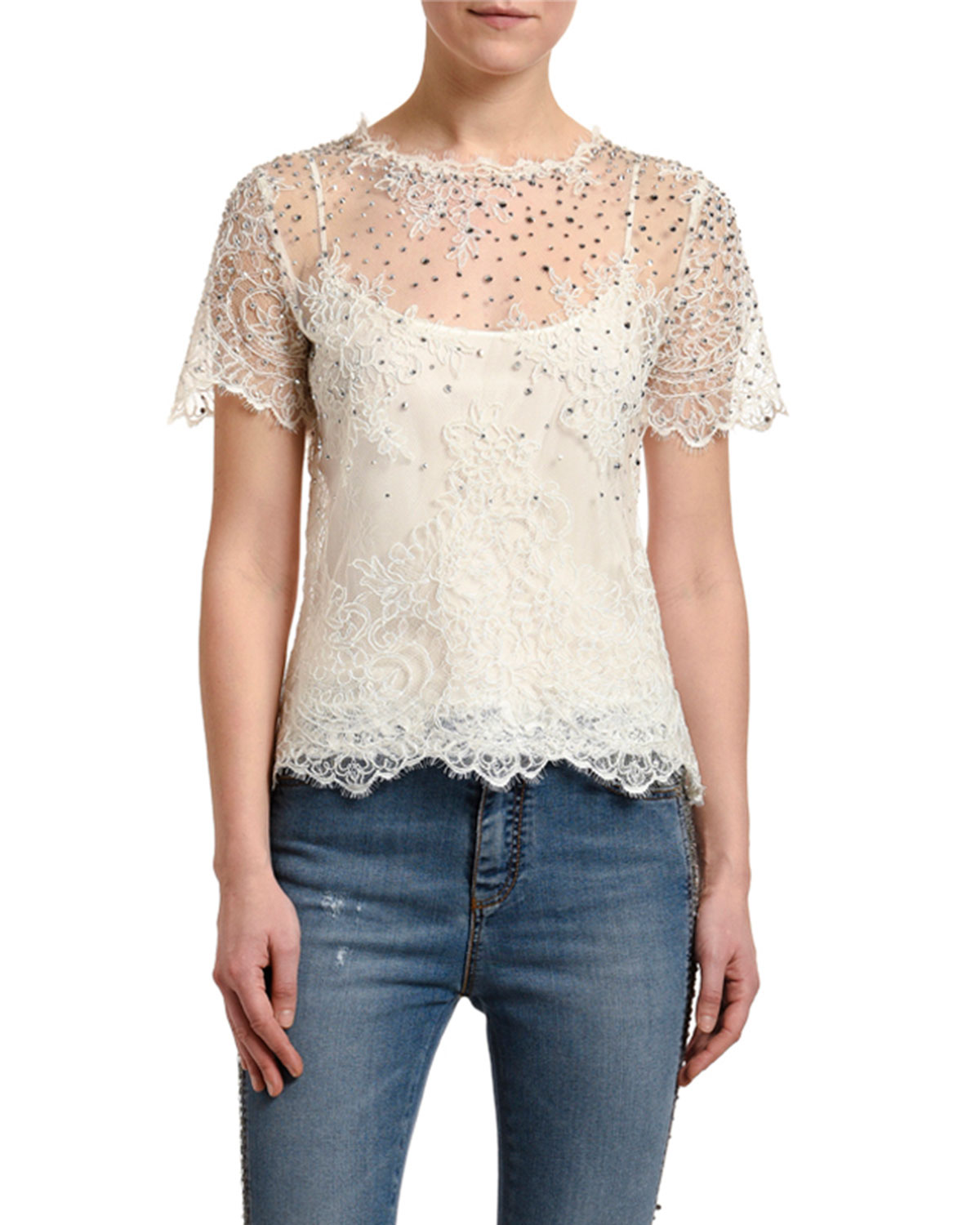 Embellished Lace Illusion Top by Ermanno Scervino