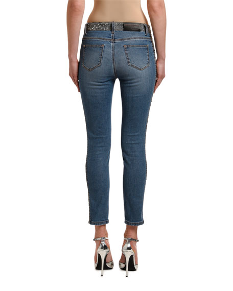 Ermanno Scervino Glen Plaid Side-Striped Jeans