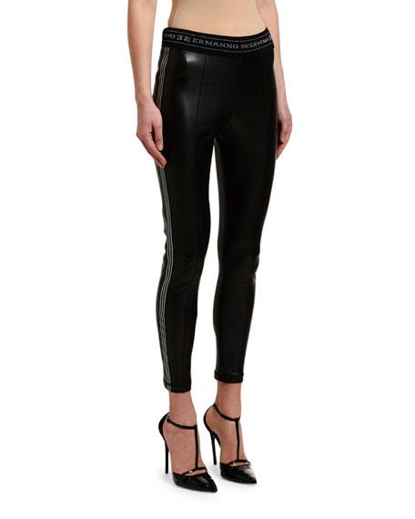 Ermanno Scervino Leather Glitter Side-Striped Leggings