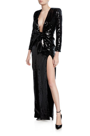 Saint Laurent Sequined Deep V-Neck Long-Sleeve Gown
