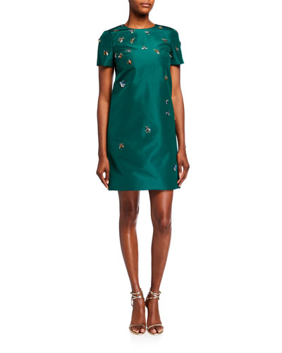 Bug-Embroidered Taffeta Shift Dress