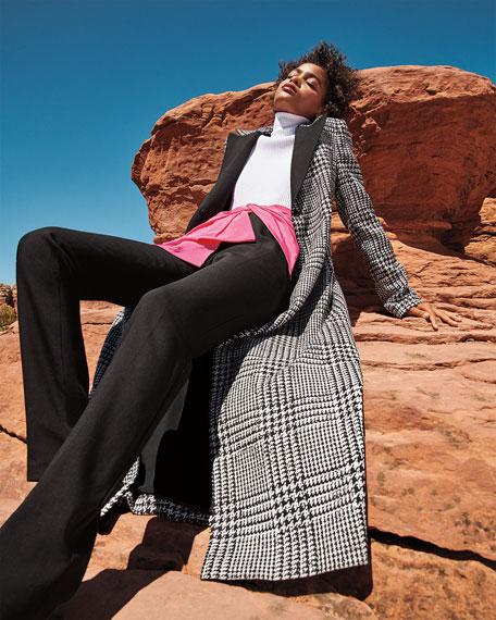 Carolina Herrera Wingtip-Lapel Prince-Of-Wale Silk-Wool Coat
