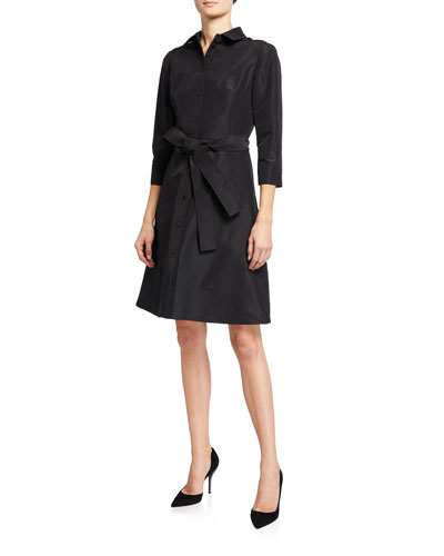 Taffeta 3/4-Sleeve Shirtdress