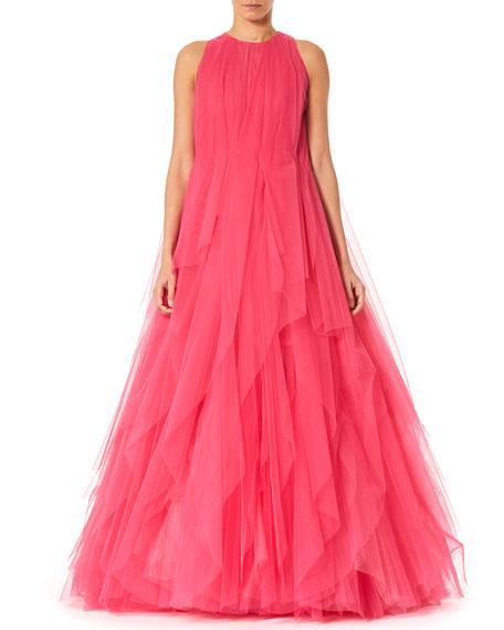 Carolina Herrera Layered Pleated Tulle Gown