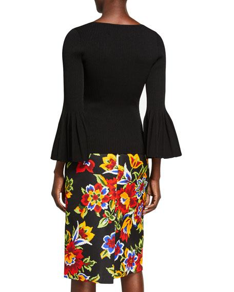 Carolina Herrera Icon V-neck Knit Flare-Sleeve Top