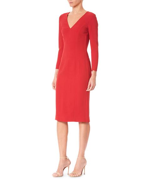 Carolina Herrera Long-Sleeve V-Neck Sheath Dress