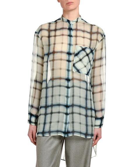 Agnona Checked Silk Georgette Tunic