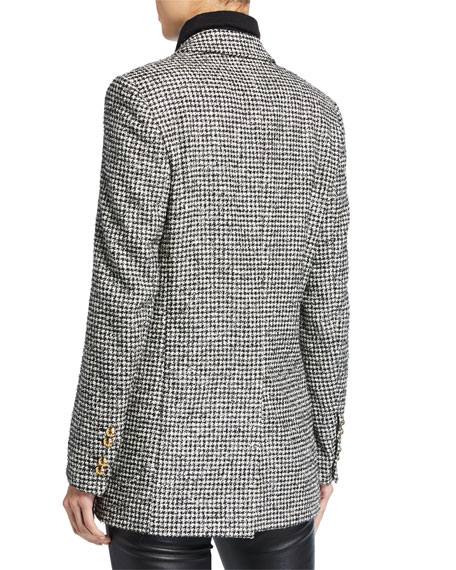 Escada Beek Mini Houndstooth Tweed Jacket