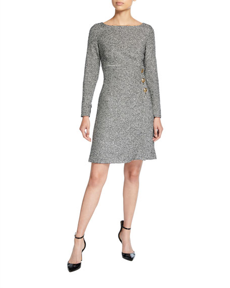 Escada Deforia Mini Houndstooth Tweed Dress