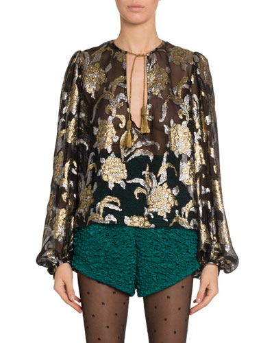 Metallic Embroidered Chiffon Blouse