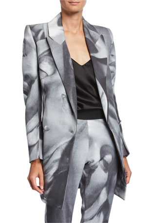 UNTTLD Belucci Face-Print Side-Tie Jacket