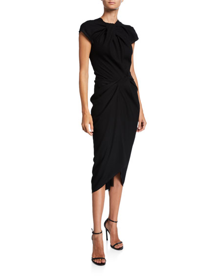 Image 1 of 2: UNTTLD Glenda Ruched Cap-Sleeve Dress
