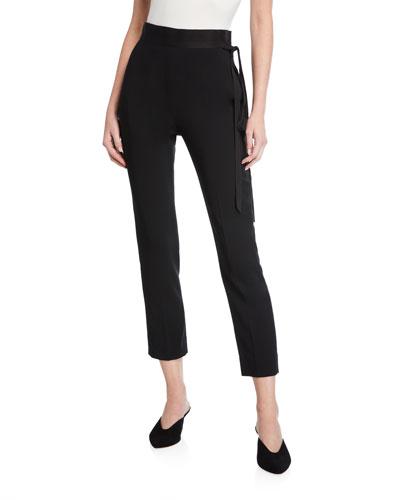 Adam Satin Tie-Waist Skinny Jeans