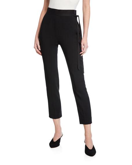 UNTTLD Adam Satin Tie-Waist Skinny Jeans