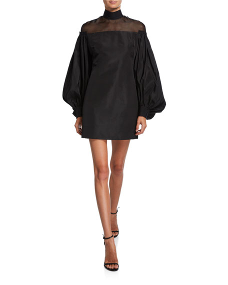 UNTTLD Angelica Sheer-Yoke Long-Sleeve Dress