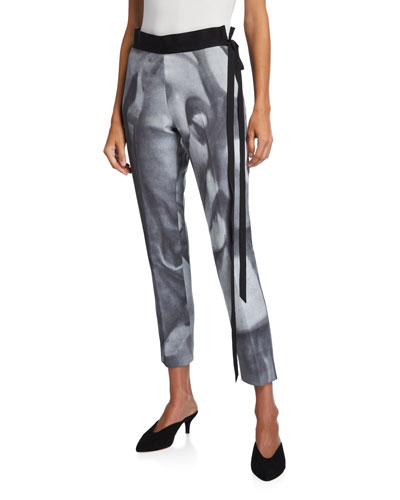 Bianca Face-Print Skinny Pants