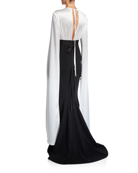 UNTTLD Agnes Fluid Cape-Sleeve Mermaid Gown