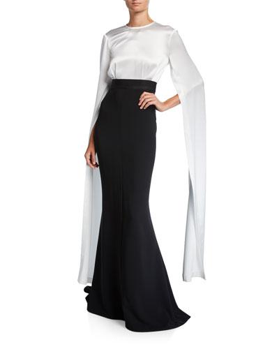 Agnes Fluid Cape-Sleeve Mermaid Gown
