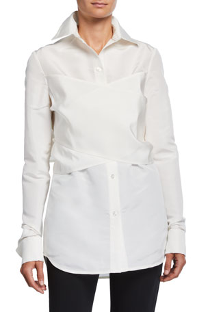 UNTTLD Elena Silk Wrapped Shirt