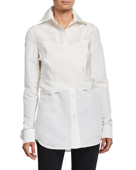 Image 1 of 2: UNTTLD Elena Silk Wrapped Shirt