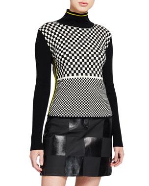 da9376654347 Escada Sport Scaevola Checkered Turtleneck Sweater