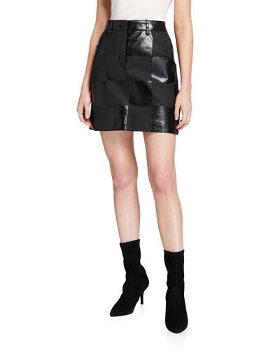Lalla Checkered Leather Skirt