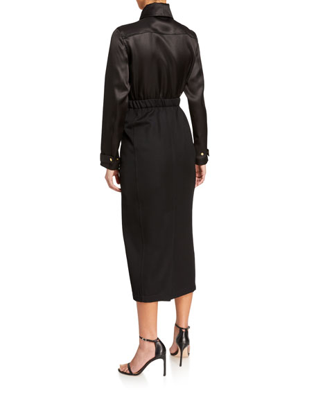 Brandon Maxwell Long-Sleeve Wool/Silk Twill 1/2-Zip Parka Dress