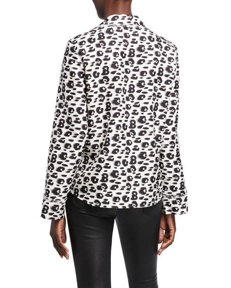 Brandon Maxwell Leopard-Print Silk Pajama Top