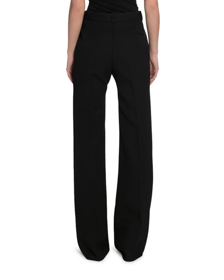 Victoria Beckham Gabardine Satin High-Rise Wide Leg Pants