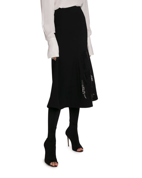Victoria Beckham Sequin-Paneled Flare Midi Skirt