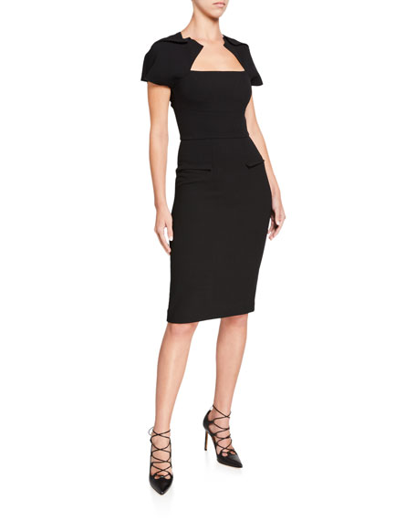Roland Mouret Myrtha Double-Face Wool Crepe Dress