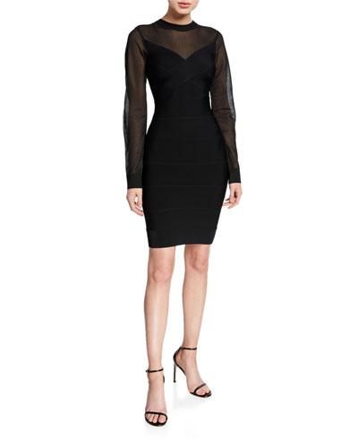 Crepe Sweetheart-Neck Bodycon Dress