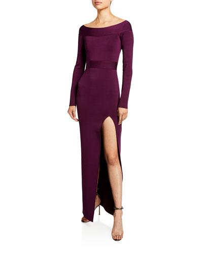 Off-the-Shoulder High-Slit Gown