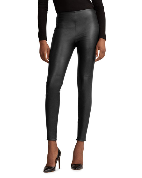 Ralph Lauren Collection Eleanora Leather Skinny Pants