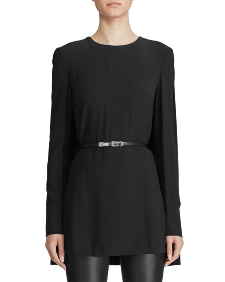 Ralph Lauren Collection Avianna Leather-Belted Crepe Tunic