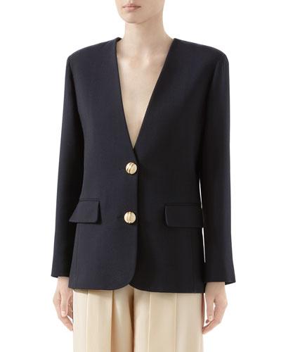 Double Wool Crepe V-Neck Jacket