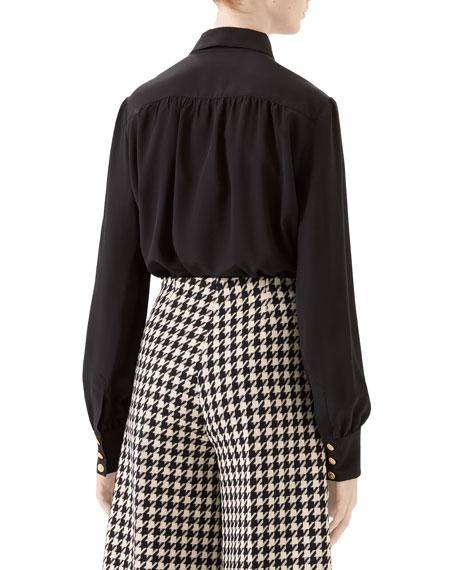 Gucci Silk Crepe de Chine Button-Front Blouse